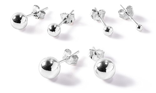 5 Pair Set Sterling Silver Round Ball Stud Earrings with Matching Backings, 2mm, 3mm, 4mm, 5mm, 6mm, By Regetta Jewelry