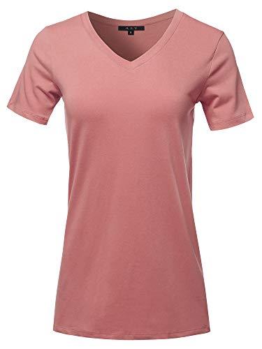 (Basic Solid Premium Cotton Short Sleeve V-Neck T Shirt Tee Tops Ash Rose M)