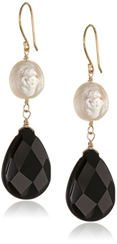 Gold-Plated Sterling Silver Black Onyx Faceted Briolette and White Coin Shape Freshwater Cultured Pearl Drop (White Coin Shape)