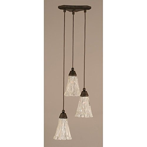 Europa 3 Light Multi Mini Pendant In Bronze Finish With 5.5 in. Italian Ice Glass ()