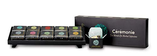 TEA TRAY GIFT BOX Variety SAMPLER Pack, by Ceremonie Tea with Reusable WOOD TRAY Display with Elegant Black Box .10 Individually Wrapped Silky Mesh Bags of Herbal Teas and Tea Blends. Kosher
