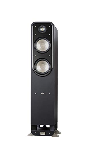 Cheap Polk Signature Series S55 Floor Standing Speaker - American HiFi Surround Sound for TV, Music, and Movies | Stylish Looks, Big Sound | Bi-wire and Bi-amp | Detachable Magnetic Grille Included, Black polk tower speakers