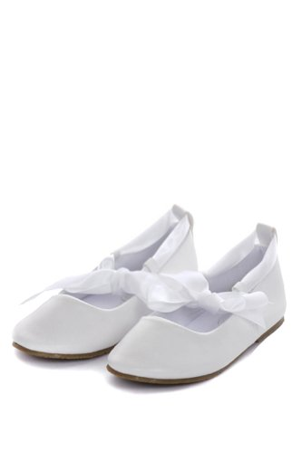Ballerina Ribbon Tie Rubber Shoes Cinderella Flats Toddler Party White Size 5