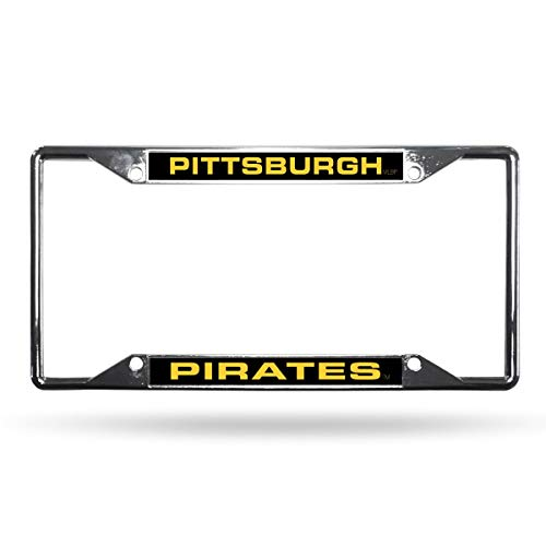 - Rico Pittsburgh Pirates MLB All Corner EZ View Chrome Metal Laser Cut License Plate Frame