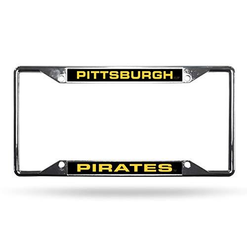 Rico Pittsburgh Pirates MLB All Corner EZ View Chrome Metal Laser Cut License Plate Frame