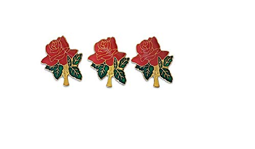 3-Piece Red Roses Lapel Pin Hat Pin & Tie Tack Set with Clutch Back by Novel Merk