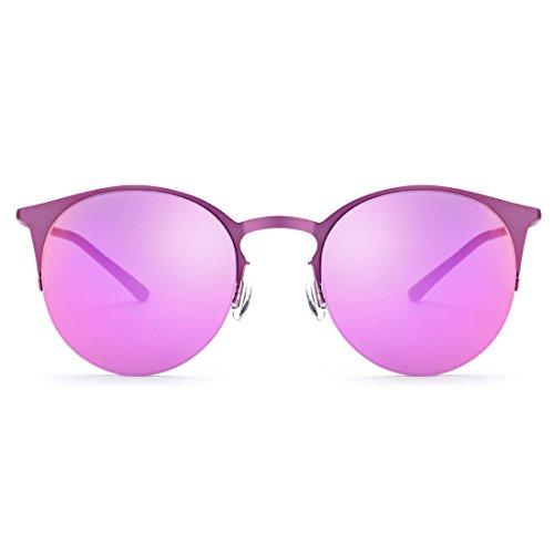 La Lens Lens De Las Marco Pink del Señoras Blue Gafas Sol De Que TLMY Frame Pesca Sol Purple De Conducen De Medio Color de Espejo Hombres Frame Los A Blue Gafas wPFWqAZ