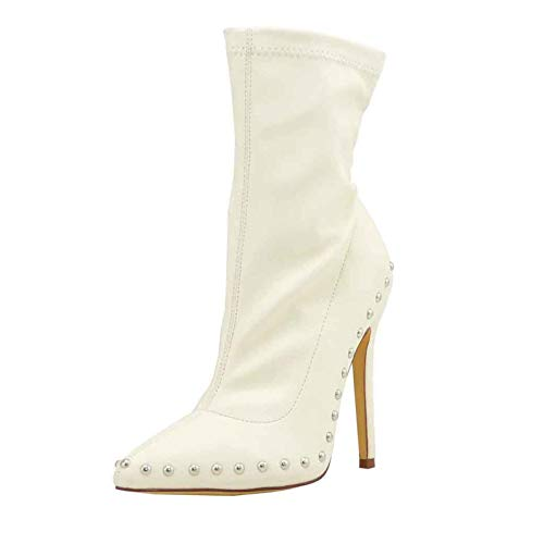 Olivia Jaymes Women's Pointed Toe Embellished Silver Tone Stud Stretch Bootie High Heel Stiletto Studded Ankle Boots (5.5, White PU)