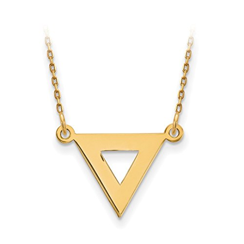 ICE CARATS 14kt Yellow Gold 13mm Triangle Chain Necklace Pendant Charm Contemporary Fine Jewelry Ideal Gifts For Women Gift Set From Heart