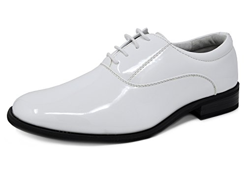 Bruno Marc Men's Ceremony-05 White Faux Patent Leather Dress Oxfords Loafers Shoes - 13 M US