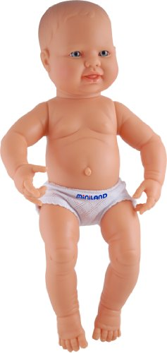 Miniland 15.75'' Anatomically Correct Newborn Baby Doll, Caucasian Boy ()
