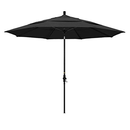 California Umbrella 11' Round Aluminum Pole Fiberglass Rib Market Umbrella, Crank Lift, Collar Tilt, Black Pole, Pacifica Black