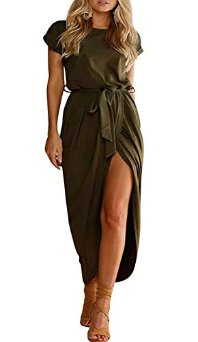 ECHOINE Women Solid Office Work Wrap Maxi Dress Short Sleeve with Belt Army Green (Short Petite Wrap Sleeve)