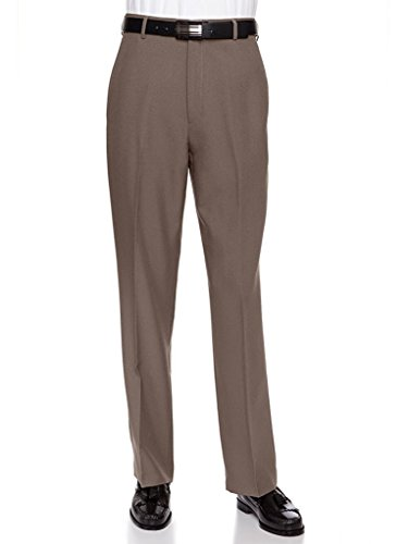 Sportoli Mens Long Cool Classic Fit Flat Front Non-Iron Dress Pant Slacks (Olive Pinstripe Suit)