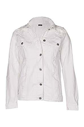 NOROZE Women's Denim Jacket Vintage Loose Fit Ripped Boyfriend 100% Cotton Jean (10, White)