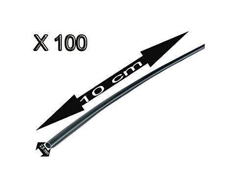 100X Tubo 10 cm Retractil Negro Cable 2, 5 mm diametro aislador termoretractil