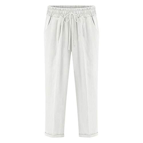 Pantalones Cortos de Verano Mujeres Pantalones Cortos de Cinco Secciones Pantalones Casuales Pantalones de Gran tamaño de Las Mujeres Sueltas Blanco Blanco