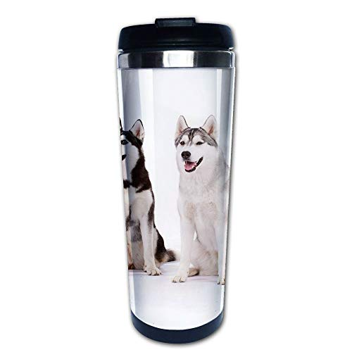 Stainless Steel Insulated Coffee Travel Mug,Doggies Husky Whelp Pedigree Pet Happy Siberian,Spill Proof Flip Lid Insulated Coffee cup Keeps Hot or Cold 13.6oz(400 ml) Customizable printing