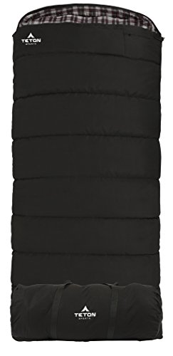 TETON Sports Outfitter XXL Sleeping Bag; Warm and Comfortable Sleeping Bag Great for Fishing, Hunting, and Camping; Great for When it's Cold Outdoors; Storage Duffle Bag Included; Black, Right Zip