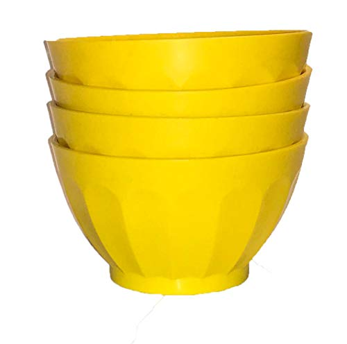 (Mintra Unbreakable Plastic Bowl, YELLOW 4pk - Medium, 750ml, 25oz, 5.5inW x 3inH - (Part Of A Set) - Salad, Snacks, Breakfast Cereal, Fruit, Popcorn, Soup, Colorful, Shatterproof, BPA Free)