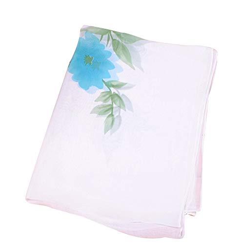 - Summer Chiffon Scarf, Long Beach Shawl Women Sunscreen Flower Print Cape(Light Blue)