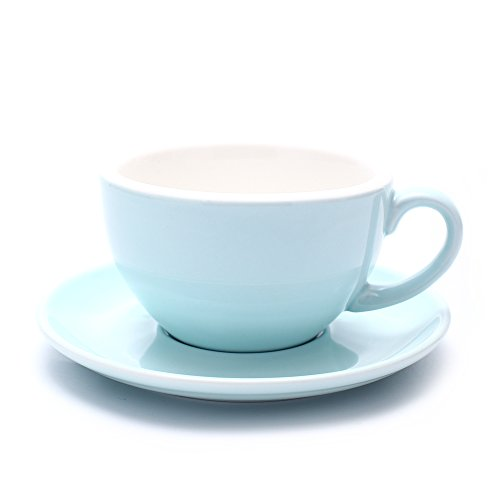 Coffeezone Barista Latte Art Cup and Saucer, 3 Capacity to Choose for Latte & Cappuccino & Double Espresso, New Bone China (10.5 oz, Glossy Light Blue)