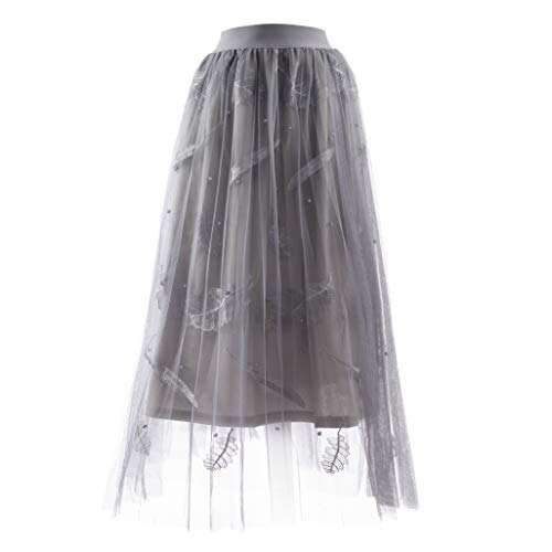 Women's Leaves Beaded Embroidery Mesh A-Line Skirt Elastic High Waist Pleated Tulle Skirt Large Swing Flared Midi Long Length Tutu