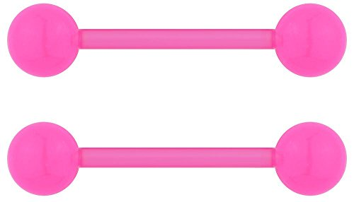 14G 16mm (5/8 Inch) Pink Flexible Acrylic Nipple or Tongue Ring Barbell Set with Free Bonus Barbell