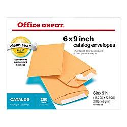 Office Depot Clean Seal(TM) Catalog Envelopes, 6in. x 9in, Brown, Pack Of 250, 77918