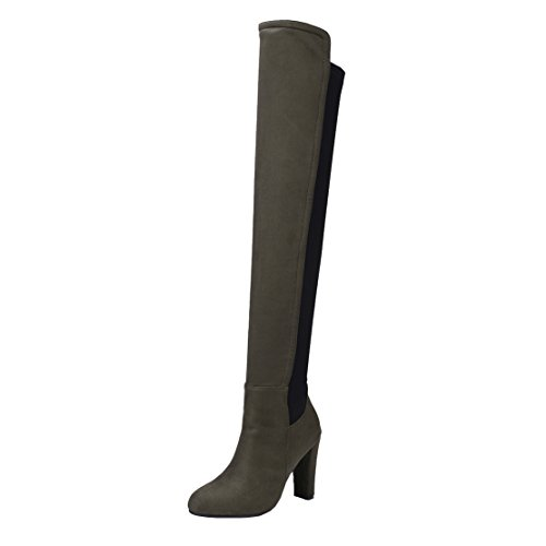 Knee Boots Fashion the Slip AIYOUMEI Women's Long Heels Winter on Stretch Green Over Boots Autumn Thick 0q57wRS5
