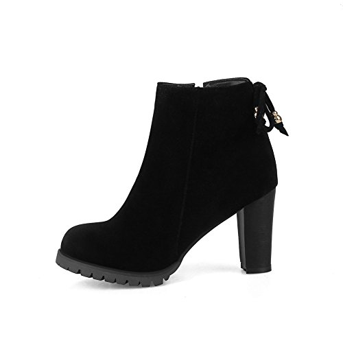 BalaMasa Womens Dress Pointed-Toe Slip-Resistant Suede Boots ABL10228 Black bz0k3