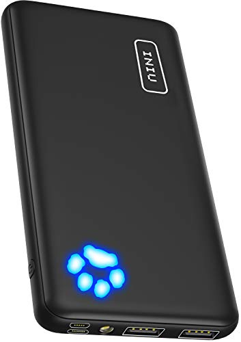 INIU Power Bank, [UPGRADE] 10000mAh Dual 3A High-speed Outputs Portable Charger, Ultra-slim External Battery Pack with USB C & Micro Inputs, Compatible with iPhone 11 XS X 8 Samsung Galaxy S10 Note 10
