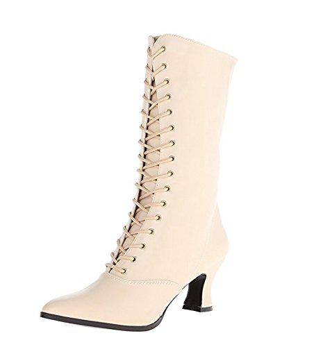 Cream 120 Victorian Heel 4 Boot w 3 Granny Side Zipper 2 Inch wSFvPS