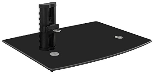 [Mount-It! Floating Wall Mounted Shelf Bracket Stand for AV Receiver, Component, Cable Box, Playstation4, Xbox1, VCR Player, Blue Ray DVD Player, Projector, Load Capacity 22 lbs, Single Shelf, Tinted Tempered Glass, Adjustable Height] (Single Wide 5 Shelf)