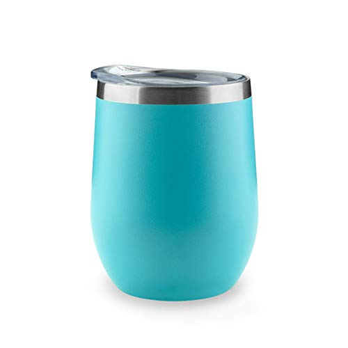 ONEB Stainless Steel Wine Tumbler with Lid, 12 OZ | Double Wall Vacuum Insulated Travel Tumbler Cup for Coffee, Wine, Cocktails, Ice Cream Cup With Lid (Blue, 12OZ-1pack-1) ()