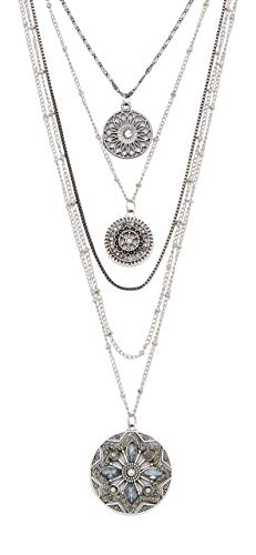 (Maurices Women's Multi Row Medallion Drape Necklace Silver Ox)