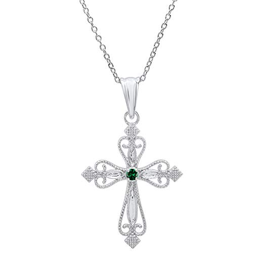 Dazzlingrock Collection 18K Round Lab Created Emerald Ladies Vintage Cross Pendant (Gold Chain Included), White Gold