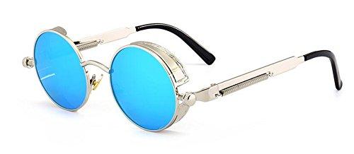 lunettes métallique de du polarisées soleil inspirées style retro rond en Lennon cercle vintage CaOqCSn