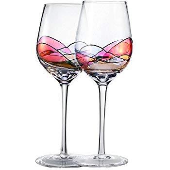 True Elegance Beautiful Hand Painted Wine Glasses (2)