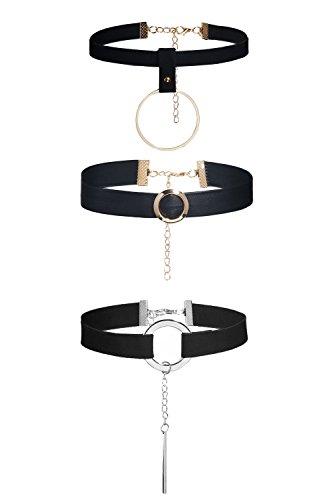 Female Rock Costume Punk Ideas (3 Pcs edgy Metallic O Ring Bar Pendant Suede Leather Choker Set Women Necklaces (Black, gold,)
