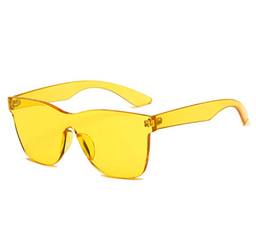 (GAMT Rimless Sunglasses Futuristic Shield Mirrored Design (Yellow))
