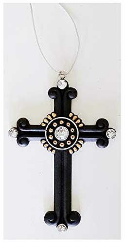 (A&T Designs Black and Gold with Rhinestone Accents Christian Cross Christmas Ornament)