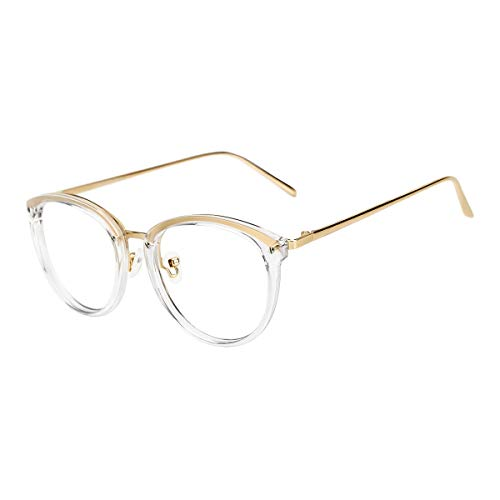 TIJN Vintage Round Metal Optical Eyewear Non-prescription Eyeglasses Frame for Women (Vintage Horn Rimmed Glasses)