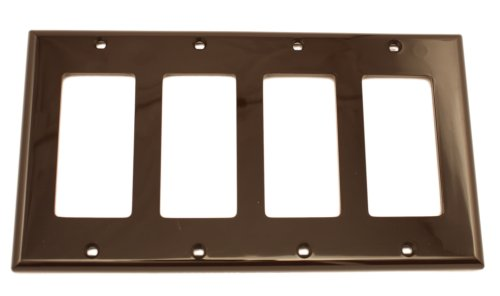 Style Decora Switch (Leviton 80412-N 4-Gang Decora/GFCI Device Wallplate, Standard Size, Thermoset, Device Mount, Brown)