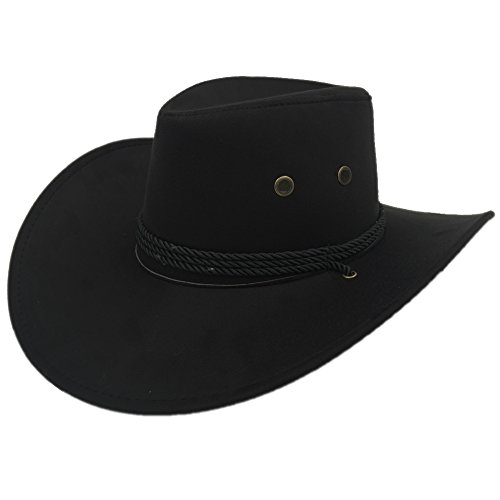 Sandy Ting Men's Outback Faux Felt Wide Brim Western Cowboy Hat (Black) -