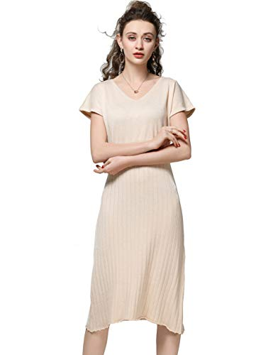 (FINCATI Knitten Dress Off White Color Women Cashmere Wool Spring Summer 2019 Long Dress Working Dating Party (XL, D-Beige))
