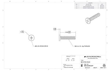 Amazon.com: M0.6 – 0,15 x 3 mm Máquina Tornillo Acero ...