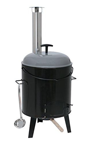 Kamino-Flam Eintopfofen, emailierter Maronenröster, Grill aus Stahl, Glühweinkessel mit Tragegriff, Gulaschkanone mit drei Beinen, ca. 47 x 47 x 91 cm, schwarz, anthrazit, silber