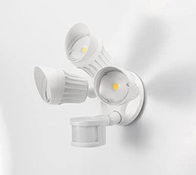 """Light Blueâ""""¢ LED 30W Security Light, White Finish 3-Head (200W Replacement), 5000K Daylight, 2250 Lumens, Motion Activated Protection, Waterproof and Outdoor Rated, ETL-Listed"""