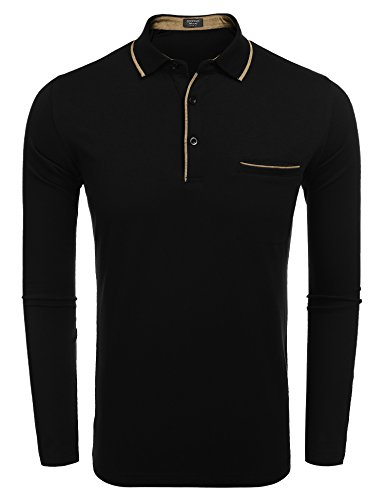 Cotton Long Sleeve Polo T-shirt (COOFANDY Men's Long Sleeve Polo Shirt Classic Causal Business Slim Fit Cotton Short Sleeve Polo T Shirts)